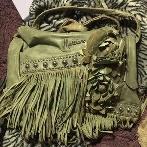 Vintage boho fringe guess green money bag